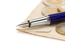Pen at paper Royalty Free Stock Images