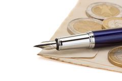 Pen at paper Royalty Free Stock Image