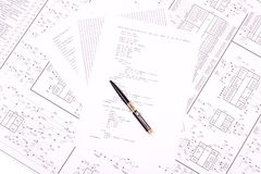 Pen on paper with the program Stock Image