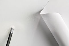 Pen,paper and rubber Royalty Free Stock Images