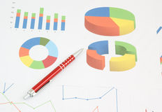 Pen on paper table with diagram Royalty Free Stock Image