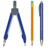 Pen, Pencil and Compasses Royalty Free Stock Photo