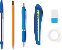 Pen pencil cutter eraser and tape Royalty Free Stock Photos