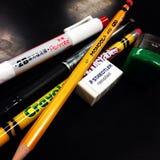 Pen Pencil Eraser Sharpener Imagens de Stock