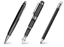 Pen, pencil, fountain pen Royalty Free Stock Photo