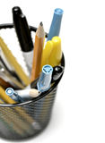 Pen Pencil Holder Cup para la organización del escritorio Fotos de archivo libres de regalías