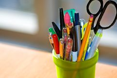 Pen and Pencil Holder on Desk Stock Photography