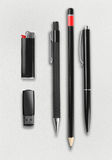 Pen, pencil, ligter and flash drive set. Stock Images