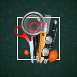 Pen, pencil, magnifying glass, scissors. Vector illustration. Green background. Stock Photo