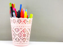 Pen and pencil office equipment for eduation or business still life Royalty Free Stock Images