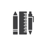 Pen, pencil and ruler icon vector, filled flat sign Royalty Free Stock Image