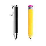 Pen and pencil. Vector illustration. Royalty Free Stock Photography