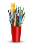 Pen and pencils in glass Royalty Free Stock Photography