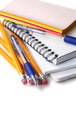 Pen, pencils, notes, multicolored stickers isolated on white Royalty Free Stock Images