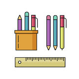 Pen and pencils, ruler vector illustration set  on white Royalty Free Stock Photos