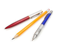 Pen and pencils on white Stock Photos