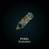 Pen - pixel illustration. Pen - pixel icon. Vector Illustration. Design logo element. Isolated on black background. It is easy to change to any color royalty free illustration