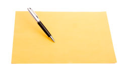 Pen and plain color paper Royalty Free Stock Image