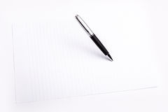 Pen and plain color paper Royalty Free Stock Photo