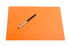 Pen and plain color paper Stock Photos
