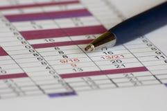 Pen on plan of work Stock Photos