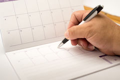 Pen point events day on calendar Royalty Free Stock Photo