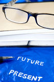 Pen point to future wording Stock Image