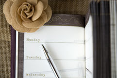 Pen point to monday Royalty Free Stock Photos