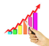 Pen pointing 3d arrow and bar graph Royalty Free Stock Image