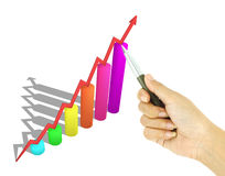 Pen pointing 3d arrow and bar graph Stock Photos