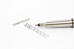 Pen Pointing at Checklist box Royalty Free Stock Image