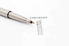 Pen Pointing at Checklist box Stock Image