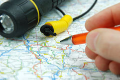 Pen pointing on map Stock Photos