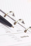 Pen pointing to Projects text on a notebook page. royalty free stock photography
