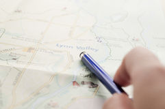 Pen pointing the travel destination Royalty Free Stock Photo