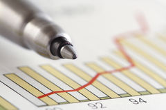 Pen on Positive Earning Graph Stock Photography