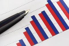 Pen on Positive Earning Graph. Still Life:Pen on Positive Earning Graph Royalty Free Stock Photography