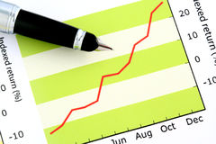 Pen on Positive Earning Graph Stock Image