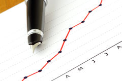 Pen on Positive Earning Graph. (white background Royalty Free Stock Photos