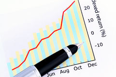 Pen on Positive Earning Graph. Pen on Indexed Return Graph (still life Stock Image
