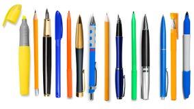 Pen, potlood, kleurpotlood Stock Foto's