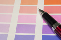 A pen and process color chart. For designer reference Royalty Free Stock Photo