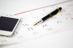 The pen put on calendar Royalty Free Stock Photo