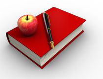 Pen and a red apple Stock Photos