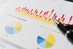 Pen and report paper, business conceptual Stock Images