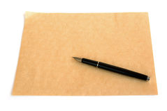 Pen and rough paper Royalty Free Stock Photo