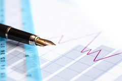 Pen And Ruler Stock Photography