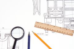 Pen and ruler at draft Royalty Free Stock Image