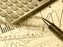 Pen, rulers and calculator (sepia) Royalty Free Stock Photography