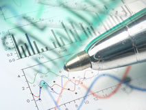 Pen, rulers and graph Royalty Free Stock Images